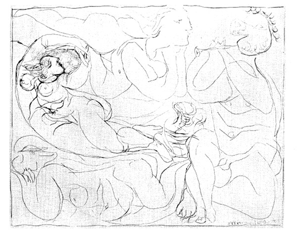 Three Nudes and a Satyr Playing the Flute