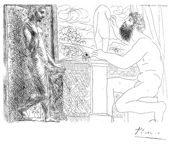 Sculptor Seated by a Window Working From Model