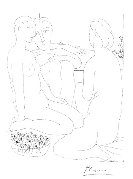 Three Nudes Seated by a Window With Basket of  Flowers